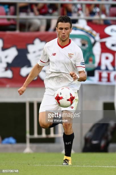 Sebastien Corchia of Sevilla in action during the preseason friendly match between Kashima Antlers and Sevilla FC at Kashima Soccer Stadium on July...