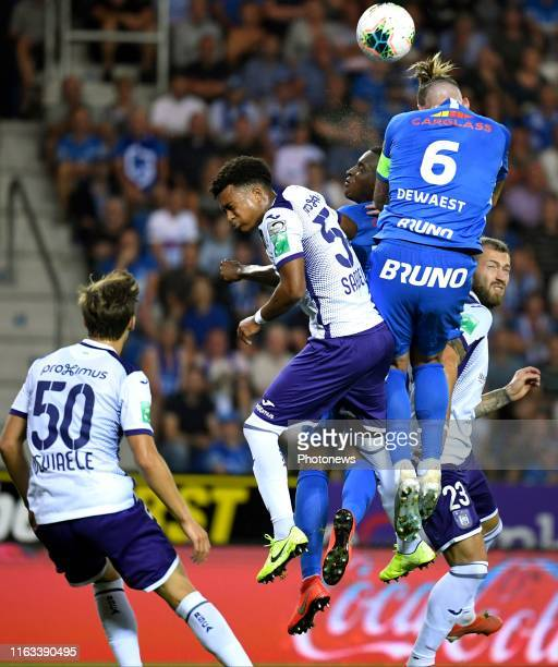 Sebastien Dewaest defender of Genk and Philippe Sandler defender of Anderlecht during the Jupiler Pro League match between KRC Genk and RSC...