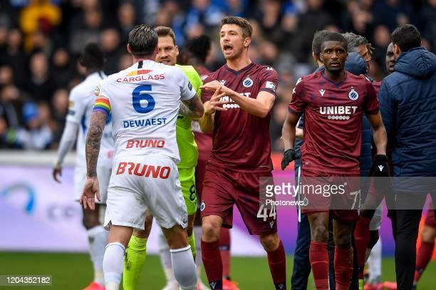 Sebastien Dewaest defender of Genk and Simon Mignolet goalkeeper of Club Brugge during the Jupiler Pro League match between KRC Genk and Club Brugge...