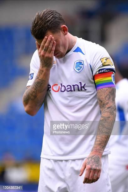 Sebastien Dewaest defender of Genk looks dejected during the Jupiler Pro League match between KRC Genk and Club Brugge KV on March 01 2020 in Genk...