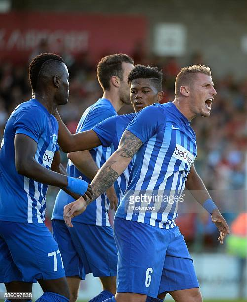 Sebastien Dewaest defender of Krc Genk celebrates with teammates after scoring pictured during UEFA Europa League third qualifying round 2nd Leg...