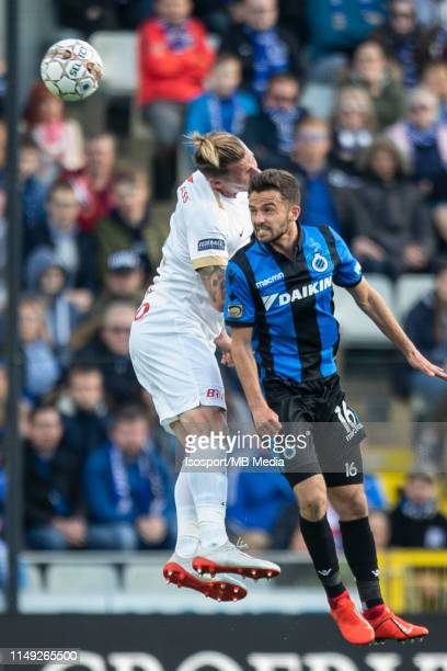 Sebastien Dewaest of Genk and Siebe Schrijvers of Club Brugge fight for the ball during the Jupiler Pro League playoff 1 match between Club Brugge...