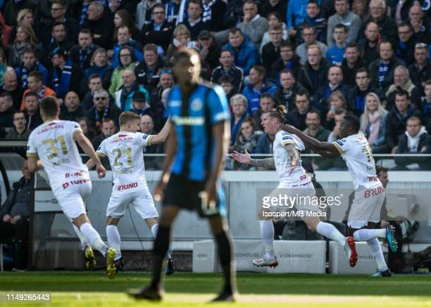 Sebastien Dewaest of Genk scores a goal during the Jupiler Pro League playoff 1 match between Club Brugge and Krc Genk at Jan Breydel Stadium on May...