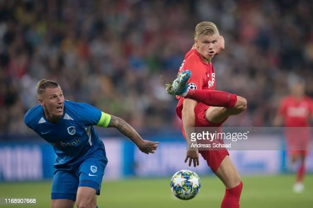 Sebastien Dewaest of KRC Genk and Erling Haaland of FC Salzburg during the champions league group E match between FC Salzburg and KRC Genk at...
