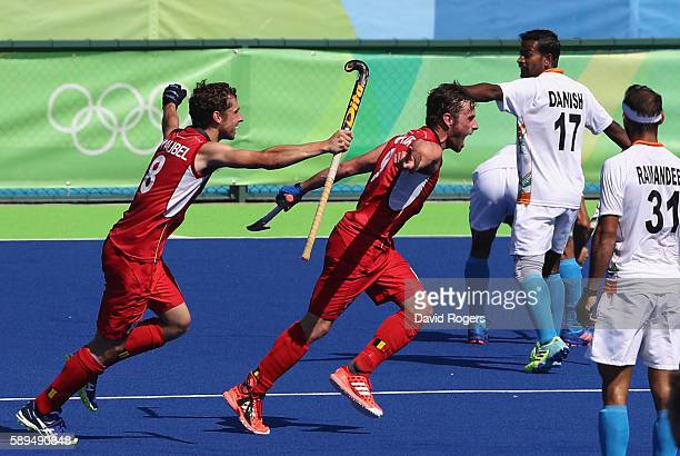 Sebastien Dockier of Belgium celebrates after scoring his first goal of two in their 31 victory during the Men's hockey quarter final match between...
