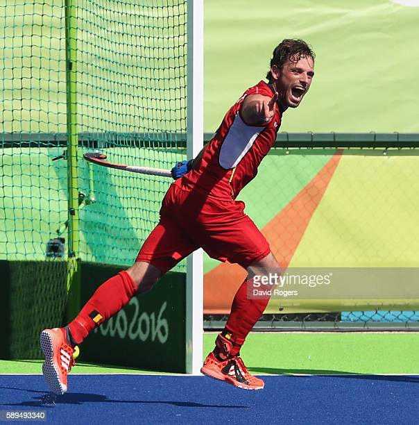 Sebastien Dockier of Belgium celebrates after scoring his second goal in their 31 victory during the Men's hockey quarter final match between Belgium...