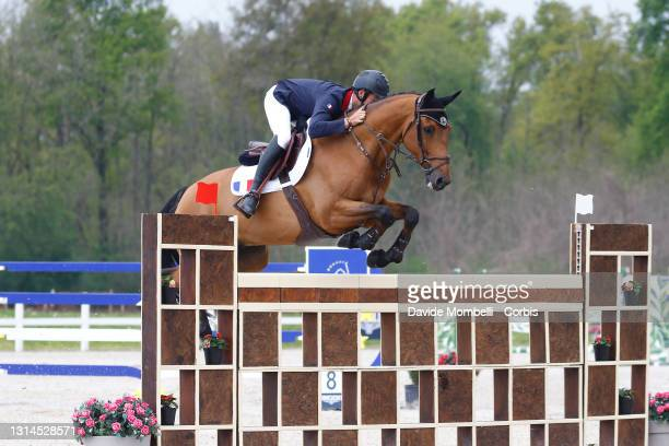 Sebastien Duplant for France riding Alpha de Preuilly, during the Longines EEF Series Nations Cup at Equieffe Equestrian Centre on April 24, 2021 in...