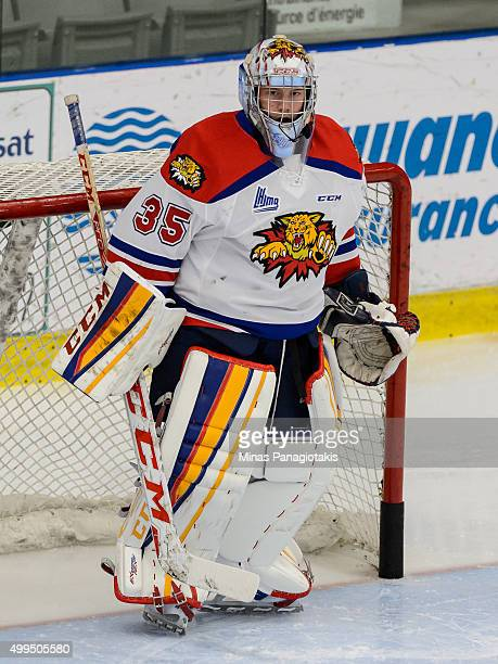 Sebastien Dupre of the Moncton Wildcats looks on during the warmup prior to the QMJHL game against the Blainville-Boisbriand Armada at the Centre...