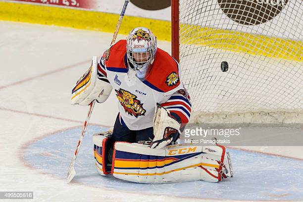Sebastien Dupre of the Moncton Wildcats makes a save during the QMJHL game against the Blainville-Boisbriand Armada at the Centre d'Excellence Sports...