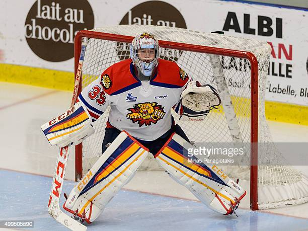 Sebastien Dupre of the Moncton Wildcats protects his net during the QMJHL game against the Blainville-Boisbriand Armada at the Centre d'Excellence...