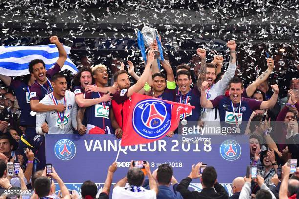Sebastien Flochon of Les Herbiers Thiago Silva and players of PSG celebrates winning the French National Cup match between Les Herbiers and Paris...