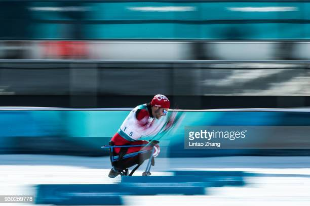 Sebastien Fortier of Canada competes in the Men's Cross Country 15km - Sitting event at Alpensia Biathlon Centre during day two of the PyeongChang...