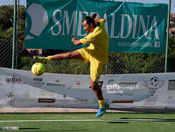 Sebastien Frey in action during the Porto Cervo Summer 2015 Fiveaside Football Tournament Day One on June 24 2015 in Porto Cervo Italy