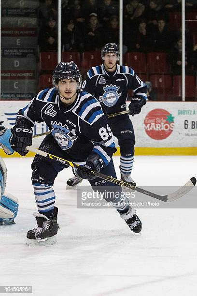 Sebastien Gauthier of the Chicoutimi Sagueneens skates against the Gatineau Olympiques during a game on February 20, 2015 at Robert Guertin Arena in...