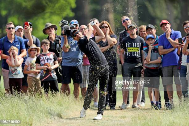 Sebastien Gros of France plays his second shot on the par 4 11th hole during the third round of the 2018 BMW PGA Championship on the West Course at...