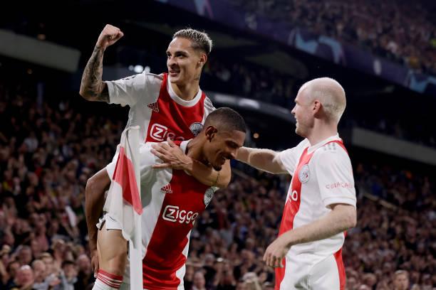 Sebastien Haller of Ajax celebrates 4-0 with Antony of Ajax, Davy Klaassen of Ajax during the UEFA Champions League match between Ajax v Borussia...