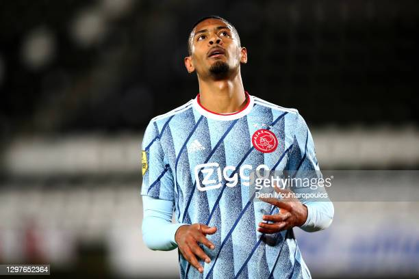 Sebastien Haller of Ajax reacts to a missed chance on goal during the KNVB Beker or Dutch Cup match between AZ Alkmaar and AFC Ajax Amsterdam at...