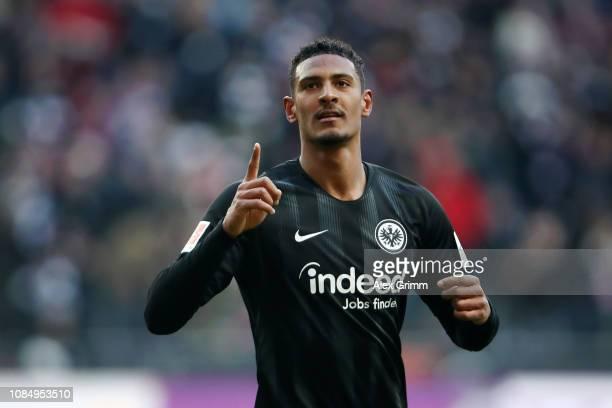 Sebastien Haller of Eintracht Frankfurt celebrates after scoring his sides first goal during the Bundesliga match between Eintracht Frankfurt and...