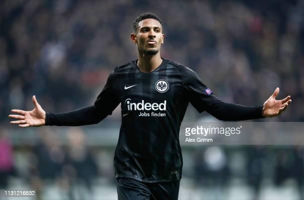 Sebastien Haller of Eintracht Frankfurt celebrates after scoring his team's third goal during the UEFA Europa League Round of 32 Second Leg match...