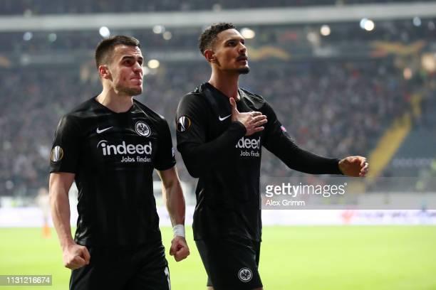 Sebastien Haller of Eintracht Frankfurt celebrates after scoring his team's third goal with Filip Kostic of Eintracht Frankfurt during the UEFA...