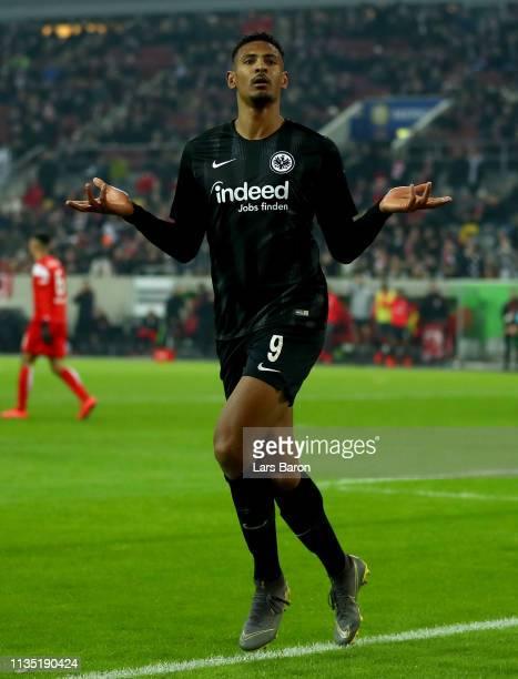 Sebastien Haller of Eintracht Frankfurt celebrates after scoring the second goal during the Bundesliga match between Fortuna Duesseldorf and...