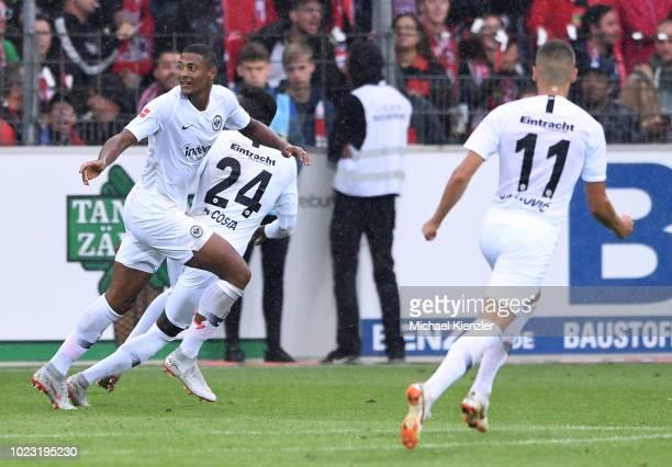 Sebastien Haller of Eintracht Frankfurt celebrates his goal during the Bundesliga match between Sport Club Freiburg and Eintracht Frankfurt at...