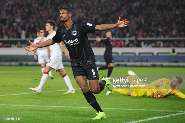 Sebastien Haller of Eintracht Frankfurt celebrates scoring his teams first goal of the game during the Bundesliga match between VfB Stuttgart and...