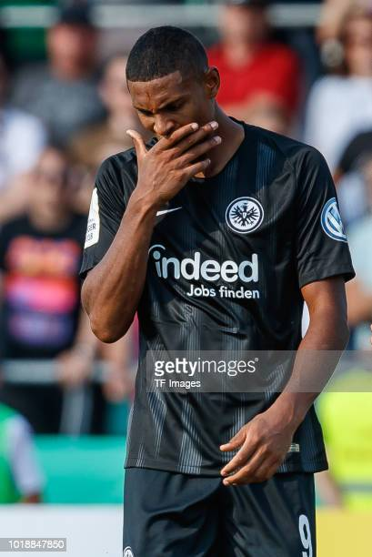 Sebastien Haller of Eintracht Frankfurt looks on during the DFB Cup first round match between SSV Ulm 1846 Fussball and Eintracht Frankfurt at...