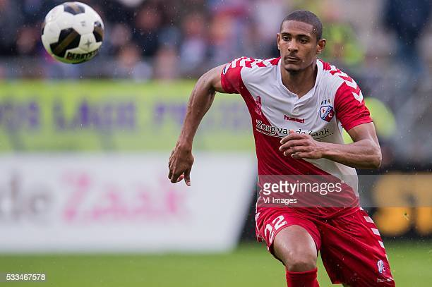 Sebastien Haller of FC Utrecht during the Europa League Playoffs return match between FC Utrecht and Heracles Almelo at the Galgenwaard Stadium on...