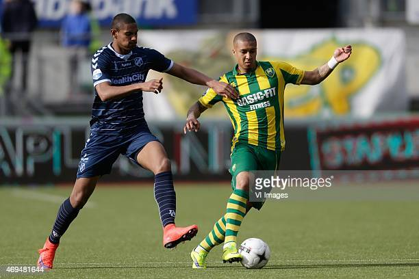 Sebastien Haller of FC Utrecht Gianni Zuiverloon of ADO during the Dutch Eredivisie match between ADO Den Haag and FC Utrecht at Kyocera stadium on...