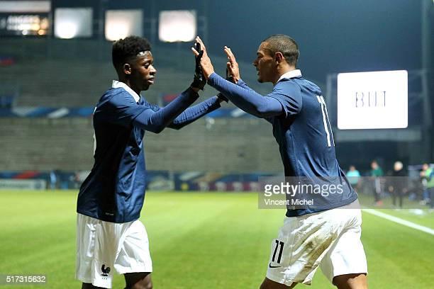 Sebastien Haller of France celebrate with Ousmane Dembele after scoring the first goal during the Uefa U21 European Championship qualifier between...