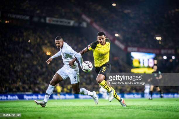 Sebastien Haller of Frankfurt and Manuel Akanji of Dortmund in action during the Bundesliga match between Borussia Dortmund and Eintracht Frankfurt...