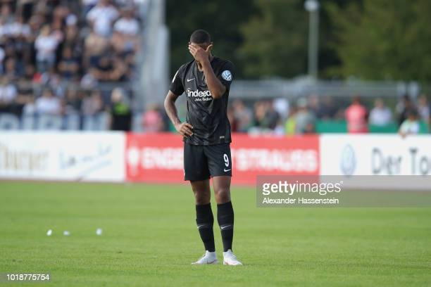 Sebastien Haller of Frankfurt reacts during the DFB Cup first round match between SSV Ulm 1846 Fussball v Eintracht Frankfurt and Eintracht Frankfurt...