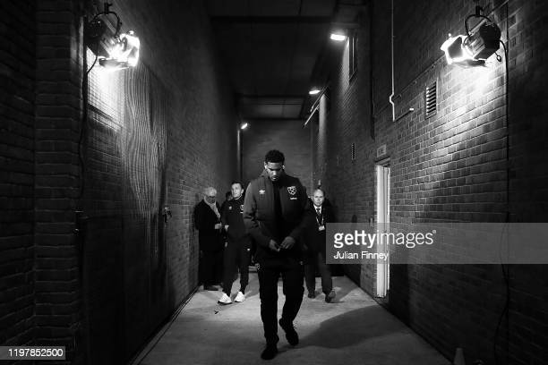 Sebastien Haller of West Ham arrives during the FA Cup Third Round match between Gillingham FC and West Ham United at MEMS Priestfield Stadium on...
