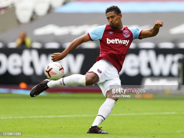 Sebastien Haller of West Ham shoots during the pre-season friendly match between West Ham United and AFC Bournemouth at London Stadium on September...