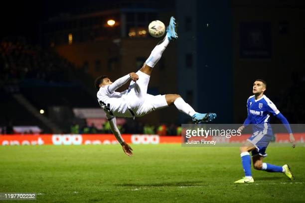 Sebastien Haller of West Ham United attempts a overhead kick during the FA Cup Third Round match between Gillingham FC and West Ham United at MEMS...