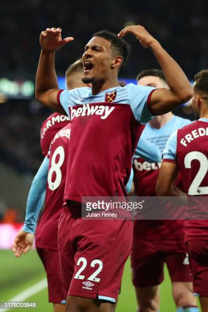 Sebastien Haller of West Ham United celebrates after he scores his sides 2st goal during the Premier League match between West Ham United and Crystal...
