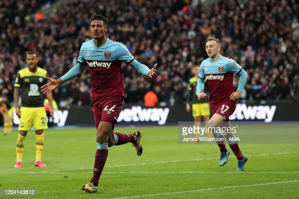 Sebastien Haller of West Ham United celebrates after scoring a goal to make it 2-1 during the Premier League match between West Ham United and...