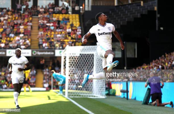 Sebastien Haller of West Ham United celebrates after scoring his team's first goal during the Premier League match between Watford FC and West Ham...