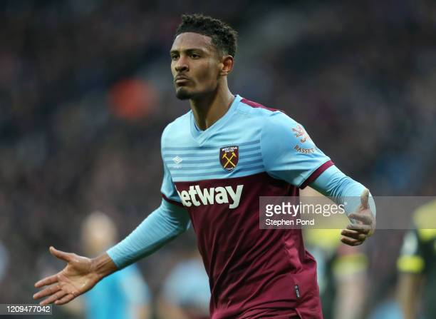 Sebastien Haller of West Ham United celebrates after scoring his sides second gaol during the Premier League match between West Ham United and...