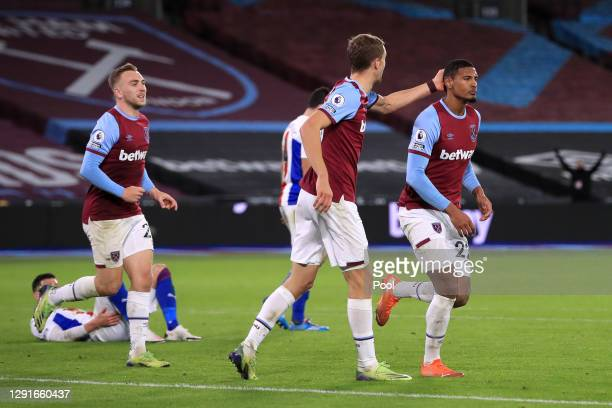 Sebastien Haller of West Ham United celebrates after scoring their team's first goal during the Premier League match between West Ham United and...