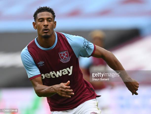 Sebastien Haller of West Ham United runs for the ball during the Pre-Season Friendly match between West Ham United and Brentford at London Stadium on...