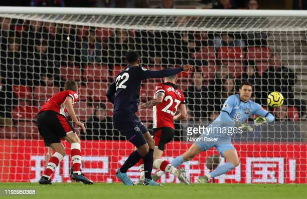 Sebastien Haller of West Ham United scores his team's first goal during the Premier League match between Southampton FC and West Ham United at St...