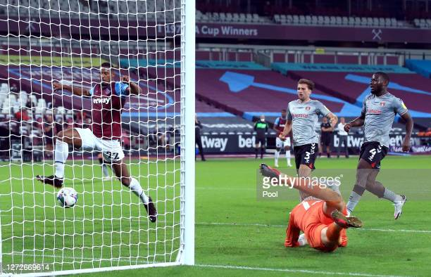 Sebastien Haller of West Ham United scores his team's first goal during the Carabao Cup Second Round Match between West Ham United and Charlton...