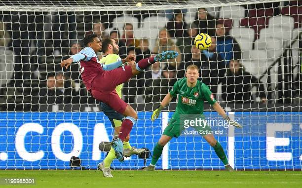 Sebastien Haller of West Ham United scores his team's second goal past Aaron Ramsdale of AFC Bournemouth during the Premier League match between West...