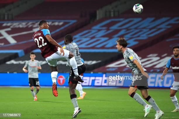 Sebastien Haller of West Ham United scores his team's second goal during the Carabao Cup Second Round Match between West Ham United and Charlton...