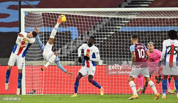 Sebastien Haller of West Ham United scores the first West Ham goal during the Premier League match between West Ham United and Crystal Palace at...