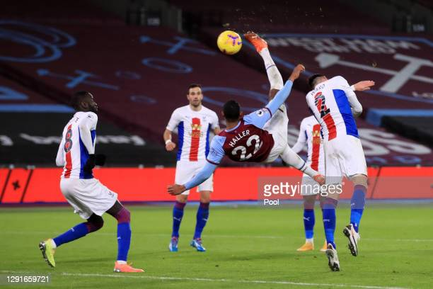 Sebastien Haller of West Ham United scores their team's first goal with an overhead kick during the Premier League match between West Ham United and...