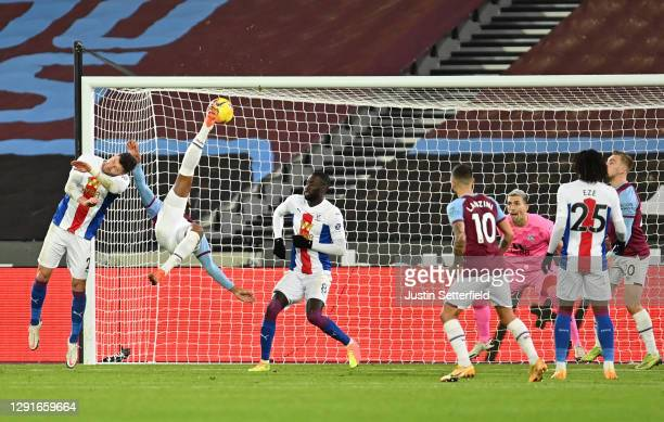 Sebastien Haller of West Ham United scores their team's first goal during the Premier League match between West Ham United and Crystal Palace at...