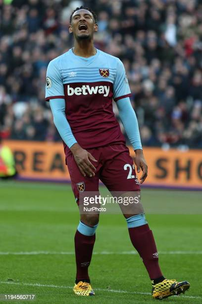 Sebastien Haller of West Ham United shouts in annoyance during the Premier League match between West Ham United and Everton at the London Stadium...